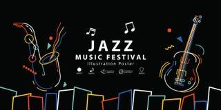 Διάνυσμα απεικόνισης αφισών εμβλημάτων φεστιβάλ μουσικής της Jazz Backgroun διανυσματική απεικόνιση