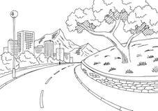 Διάνυσμα απεικόνισης σκίτσων τοπίων βουνών οδικών γραφικό μαύρο άσπρο πόλεων οδών Στοκ Φωτογραφίες