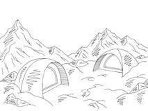 Διάνυσμα απεικόνισης σκίτσων τοπίων βουνών χιονιού στρατοπέδευσης γραφικό μαύρο άσπρο Στοκ φωτογραφίες με δικαίωμα ελεύθερης χρήσης