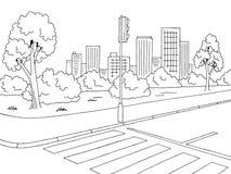 Διάνυσμα απεικόνισης σκίτσων τοπίων οδικών γραφικό μαύρο άσπρο πόλεων οδών Στοκ Φωτογραφία