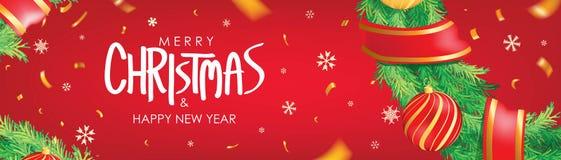 διάνυσμα απεικόνισης Χριστουγέννων eps10 εμβλημάτων Κόκκινο υπόβαθρο Χριστουγέννων με τις σφαίρες Χριστουγέννων, snowflakes και τ διανυσματική απεικόνιση