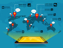 Διάνυσμα αποθεμάτων έννοιας παγκόσμιων επικοινωνιών Στοκ Φωτογραφίες