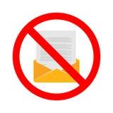 Διάνυσμα αποθεμάτων κανενός ηλεκτρονικού ταχυδρομείου Απαγόρευση για την αποστολή του ηλεκτρονικού ταχυδρομείου Καμία επικοινωνία Στοκ Εικόνα