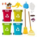 Διάνυσμα απορριμάτων ταξινόμησης και καθαρισμού δοχεία ανακύκλωσης χωρισμός απόρριψη οικολογικό πρόβλημα Απομονωμένα επίπεδα κινο ελεύθερη απεικόνιση δικαιώματος