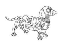 Διάνυσμα βιβλίων χρωματισμού σκυλιών ύφους Steampunk dachshund Στοκ Εικόνα