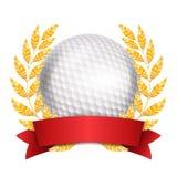 Διάνυσμα βραβείων γκολφ Υπόβαθρο αθλητικών εμβλημάτων Άσπρη σφαίρα, κόκκινη κορδέλλα, στεφάνι δαφνών τρισδιάστατη ρεαλιστική απομ ελεύθερη απεικόνιση δικαιώματος