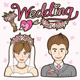 Διάνυσμα γαμήλιων κινούμενων σχεδίων ζεύγους Στοκ φωτογραφία με δικαίωμα ελεύθερης χρήσης