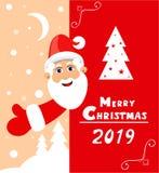 Διάνυσμα για τις κάρτες και τις προσκλήσεις, γραφική παράσταση και Ιστός με Άγιο Βασίλη για το έτος του 2019 διανυσματική απεικόνιση