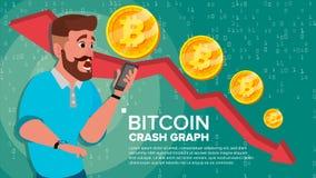 Διάνυσμα γραφικών παραστάσεων συντριβής Bitcoin Έκπληκτος επενδυτής Αρνητικές εμπορικές συναλλαγές ανταλλαγής αύξησης Κατάρρευση  απεικόνιση αποθεμάτων