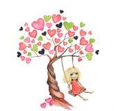 διάνυσμα δέντρων συμβόλων αγάπης απεικόνισης καρδιών Στοκ Φωτογραφίες