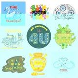 Διάνυσμα διακριτικών logotype ή σημάδι εμβλημάτων με το εμβληματικό σύνολο απεικόνισης τεράτων ή μελισσών ετικέττας μελιού ή γραμ ελεύθερη απεικόνιση δικαιώματος