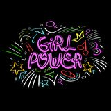 Διάνυσμα δύναμης κοριτσιών Κινητήριο σύνθημα γυναικών Στοκ εικόνα με δικαίωμα ελεύθερης χρήσης