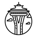 Διάνυσμα εικονιδίων του ΣΙΑΤΛ, ΟΥΑΣΙΓΚΤΟΝ, ΗΠΑ διανυσματική απεικόνιση