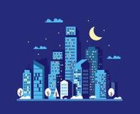 Διάνυσμα εικονικής παράστασης πόλης νύχτας Στοκ φωτογραφία με δικαίωμα ελεύθερης χρήσης