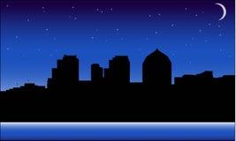Διάνυσμα εικονικής παράστασης πόλης τη νύχτα απεικόνιση αποθεμάτων