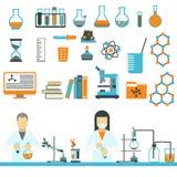Διάνυσμα εικονιδίων επιστήμης και χημείας εργαστηριακών συμβόλων ελεύθερη απεικόνιση δικαιώματος