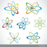 Διάνυσμα εικονιδίων επιστήμης συμβόλων ατόμων μορίων Στοκ Φωτογραφίες