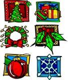Διάνυσμα εικονιδίων και λογότυπων διακοπών Χριστουγέννων Στοκ Φωτογραφία