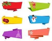 Διάνυσμα εμβλημάτων κορδελλών ετικετών Χριστουγέννων Στοκ Εικόνα