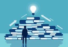 Διάνυσμα ενός επιχειρηματία που στέκεται μπροστά από έναν σωρό των βιβλίων διανυσματική απεικόνιση