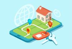Διάνυσμα ενός πρότυπου σπιτιού σε έναν χάρτη, τα κλειδιά σπιτιών και τα εικονίδια, ακίνητη περιουσία διανυσματική απεικόνιση