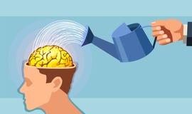 Διάνυσμα ενός χεριού ατόμων που ποτίζει έναν εγκέφαλο διανυσματική απεικόνιση