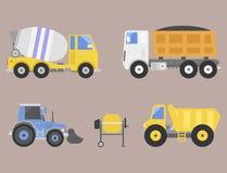 Διάνυσμα εξοπλισμού οδικών μηχανών μετακινούμενων οχημάτων μεταφορών φορτηγών παράδοσης κατασκευής ελεύθερη απεικόνιση δικαιώματος