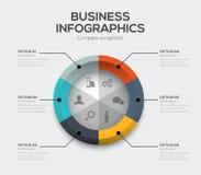 Διάνυσμα επιχειρησιακών επιλογών Σύγχρονο infographics ui με έξι επιλογές διανυσματική απεικόνιση
