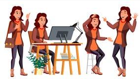Διάνυσμα εργαζομένων γραφείων Γυναίκα Σύγχρονος υπάλληλος, Laborer γυναίκα 2 επιχειρήσεων Συγκινήσεις προσώπου, διάφορες χειρονομ Στοκ φωτογραφίες με δικαίωμα ελεύθερης χρήσης