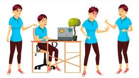 Διάνυσμα εργαζομένων γραφείων Γυναίκα Σύγχρονος υπάλληλος, Laborer Επιχειρησιακός εργαζόμενος Συγκινήσεις προσώπου, διάφορες χειρ Στοκ φωτογραφία με δικαίωμα ελεύθερης χρήσης