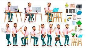 Διάνυσμα εργαζομένων γραφείων Συγκινήσεις προσώπου, διάφορες χειρονομίες Σύνολο δημιουργιών Ενήλικο επιχειρησιακό άτομο επιχειρημ Στοκ Φωτογραφία