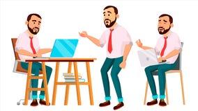 Διάνυσμα εργαζομένων γραφείων Συγκινήσεις προσώπου, διάφορες χειρονομίες Σύνολο δημιουργιών Άνθρωπος επιχειρηματιών Σύγχρονος υπά Στοκ Εικόνα