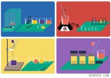 Διάνυσμα εργαστηρίων επιστήμης Χημικό εργαστήριο, χημικά γυαλικά διανυσματική απεικόνιση, επίπεδο σχέδιο Στοκ Εικόνα