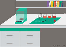 Διάνυσμα εργαστηρίων επιστήμης Χημικό εργαστήριο, χημικά γυαλικά απεικόνιση, επίπεδο σχέδιο Στοκ Εικόνες