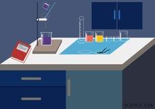 Διάνυσμα εργαστηρίων επιστήμης Χημικό εργαστήριο, χημικά γυαλικά διανυσματική απεικόνιση, επίπεδο σχέδιο Στοκ Εικόνες