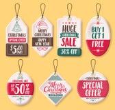 Διάνυσμα ετικεττών πώλησης εγγράφου Χριστουγέννων που τίθεται με το κείμενο έκπτωσης όπως την ειδική προσφορά διανυσματική απεικόνιση