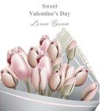 Διάνυσμα ευχετήριων καρτών ημέρας βαλεντίνων ανθοδεσμών τουλιπών ρεαλιστικό Ρομαντικά υπόβαθρα προτύπων λουλουδιών Στοκ εικόνα με δικαίωμα ελεύθερης χρήσης