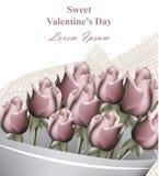 Διάνυσμα ευχετήριων καρτών ημέρας βαλεντίνων ανθοδεσμών τριαντάφυλλων ρεαλιστικό Ρομαντικά υπόβαθρα προτύπων λουλουδιών Στοκ φωτογραφία με δικαίωμα ελεύθερης χρήσης
