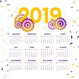 Διάνυσμα ημερολογίου έτους του 2019 του νέου με τα λουλούδια στοκ φωτογραφία