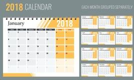 Διάνυσμα ημερολογίου έτους του 2018 του νέου στο καθαρό ελάχιστο επιτραπέζιο απλό ύφος με το πορτοκαλί χρώμα Στοκ Φωτογραφίες