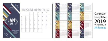 Διάνυσμα ημερολογίου έτους του 2019 του νέου στο καθαρό ελάχιστο επιτραπέζιο απλό ύφος και το μπλε μέγεθος χρώματος A4 Στοκ Εικόνα