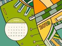 διάνυσμα ημερολογιακής αφηρημένο σύγχρονης τέχνης Μαρτίου του 2019 Γραφείο, οθόνη, μήνας 03,2019, ζωηρόχρωμο ημερολογιακό πρότυπο ελεύθερη απεικόνιση δικαιώματος