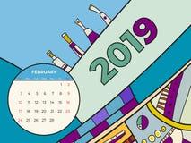 διάνυσμα ημερολογιακής αφηρημένο σύγχρονης τέχνης Φεβρουαρίου του 2019 Γραφείο, οθόνη, μήνας 02,2019, ζωηρόχρωμο ημερολογιακό πρό διανυσματική απεικόνιση