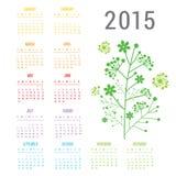 Διάνυσμα ημερολογιακών 2015 λουλουδιών διανυσματική απεικόνιση