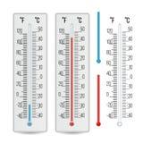Διάνυσμα θερμομέτρων Υπαίθρια, εσωτερικά θερμόμετρα οινοπνεύματος καθορισμένα απομονωμένη ωθώντας s κουμπιών γυναίκα έναρξης χερι διανυσματική απεικόνιση
