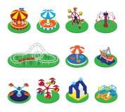 Διάνυσμα ιπποδρομίων εύθυμος-πηγαίνω-γύρω από ή εικονίδια τσίρκων διασταυρώσεων κυκλικής κυκλοφορίας και καρναβαλιού του συνόλου  διανυσματική απεικόνιση