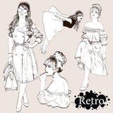 Διάνυσμα καθορισμένο: οι κυρίες μόδας κοιτάζουν στο ύφος της δεκαετίας του '50 διανυσματική απεικόνιση