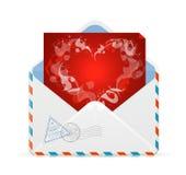 Διάνυσμα καρτών ημέρας βαλεντίνων καρδιών και ταχυδρομείου διανυσματική απεικόνιση