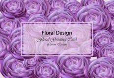 Διάνυσμα καρτών υπεριωδών peony λουλουδιών Όμορφα floral καθιερώνοντα τη μόδα σχέδια υποβάθρου Στοκ Φωτογραφία