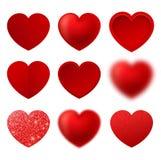 Διάνυσμα καρδιών η αγάπη ανασκόπησης κόκκινη αυξήθηκε λευκό συμβόλων Σημάδι ημέρας βαλεντίνων ` s που απομονώνεται στο άσπρο υπόβ Στοκ Εικόνες
